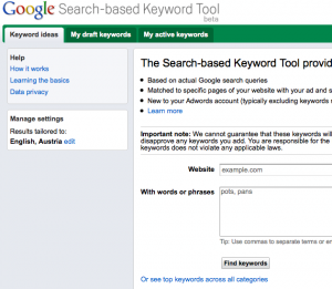 Search-based keyword tool